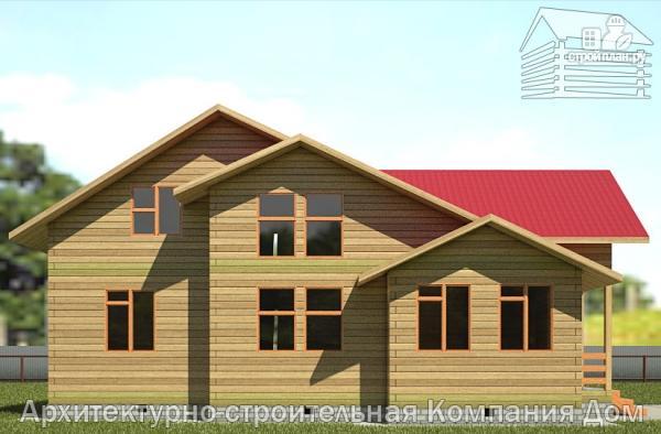Фото 7: проект деревянный дом 12х12 с балконом, террасой и двухсветной гостиной