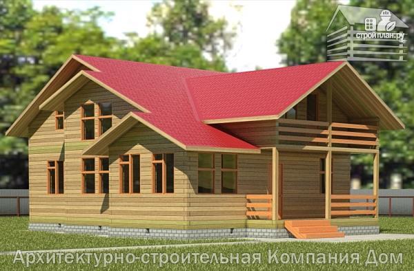 Фото: проект деревянный дом 12х12 с балконом, террасой и двухсветной гостиной