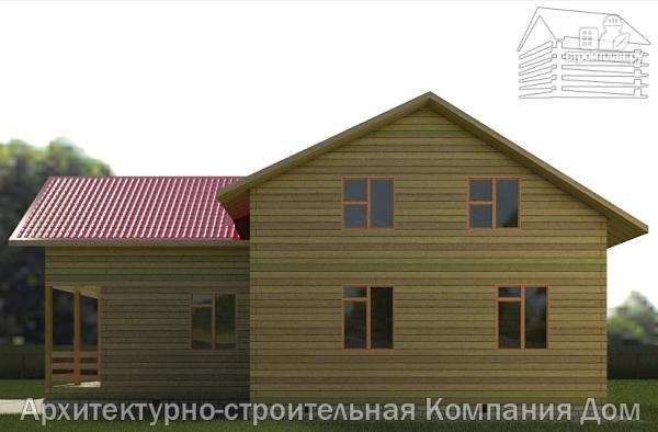 Фото 5: проект деревянный дом 12х12 с балконом, террасой и двухсветной гостиной