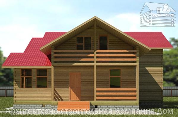 Фото 4: проект деревянный дом 12х12 с балконом, террасой и двухсветной гостиной