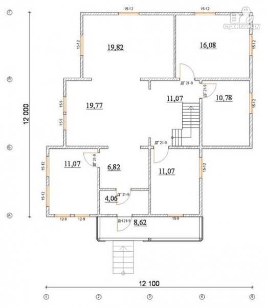 Фото 2: проект деревянный дом 12х12 с балконом, террасой и двухсветной гостиной