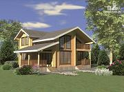 Фото: двухэтажный дом из клееного бруса с террасой