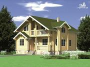 Фото: дом из клееного бруса с мансардой