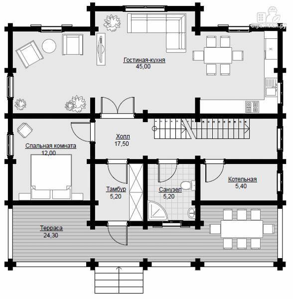 Фото 6: проект двухэтажный дом из клееного бруса с просторной террасой
