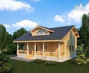 Фото: двухэтажный дом из клееного бруса с просторной террасой
