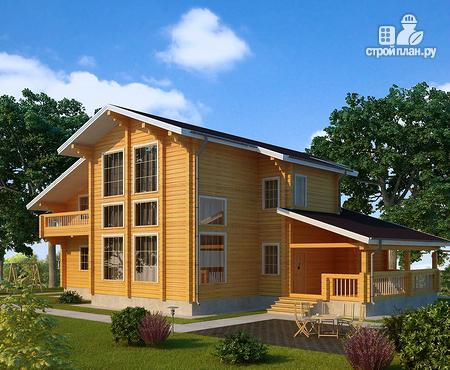 Фото: проект двухэтажный дом из клееного бруса с террасой