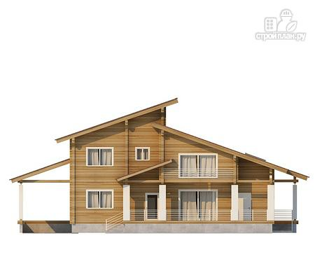 Фото 2: проект двухэтажный дом из клееного бруса с двумя террасами