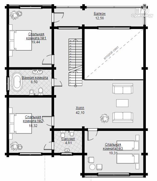 Фото 7: проект двухэтажный дом из клееного бруса с двумя террасами