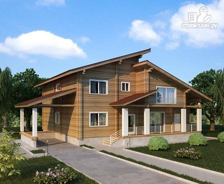 Фото: проект двухэтажный дом из клееного бруса с двумя террасами