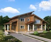 Фото: двухэтажный дом из клееного бруса с двумя террасами