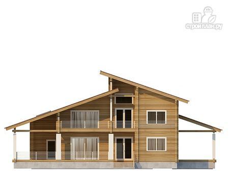 Фото 3: проект двухэтажный дом из клееного бруса с двумя террасами