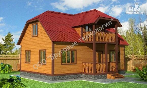 Фото: проект дом из бруса 6х9 с террасой и балконом