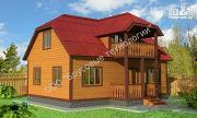Фото: дом из бруса 6х9 с террасой и балконом