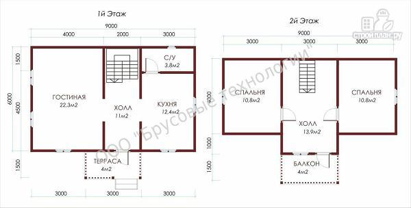 Фото 2: проект дом из бруса 6х9 с террасой и балконом