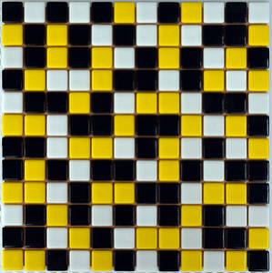 Мозаика стеклянная Черная + желтая + белая FL-S-091