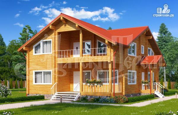 Фото: проект дом из клееного бруса с большим балконом и террасой