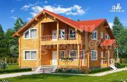 Фото: дом из клееного бруса с большим балконом и террасой