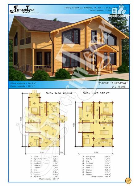 Фото 2: проект дом из клееного бруса с большим балконом и террасой