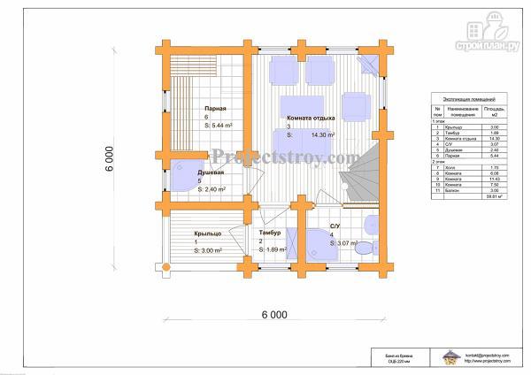 Фото 3: проект дом-баня двухэтажная 6 на 6 метров