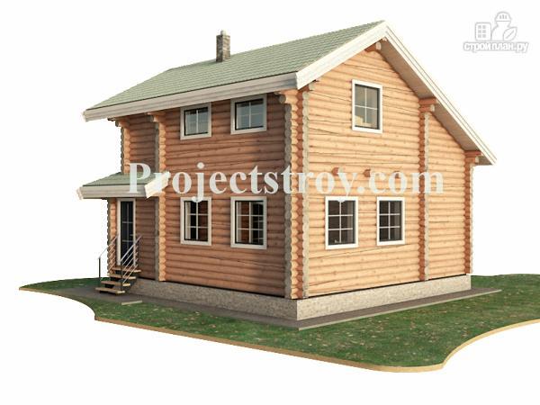 Фото 4: проект дачный дом из бревна с гаражом