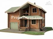 Проект дачный дом из бревна с гаражом