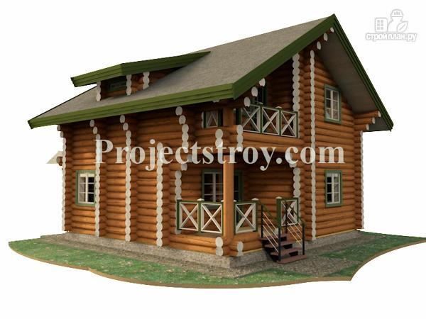 Фото: проект деревянный дом из бревна 8х8 м