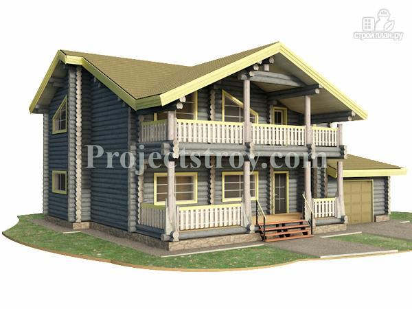 Фото: проект загородный дом из бревна с гаражом