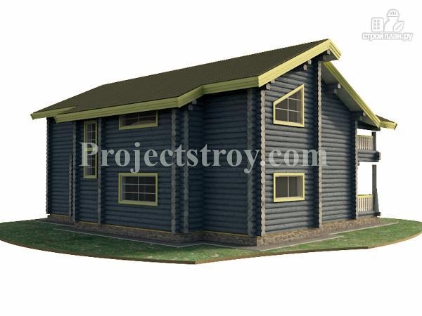 Фото 2: проект загородный дом из бревна с гаражом