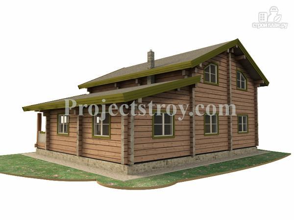 Фото 2: проект загородный дом из лафета с большой гостиной