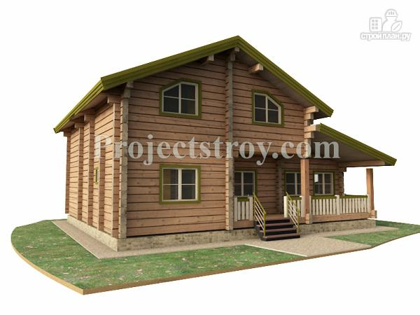 Фото: проект загородный дом из лафета с большой гостиной