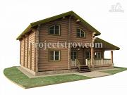 Проект загородный дом из лафета с большой гостиной