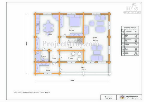 Фото 3: проект загородный дом из лафета с большой гостиной