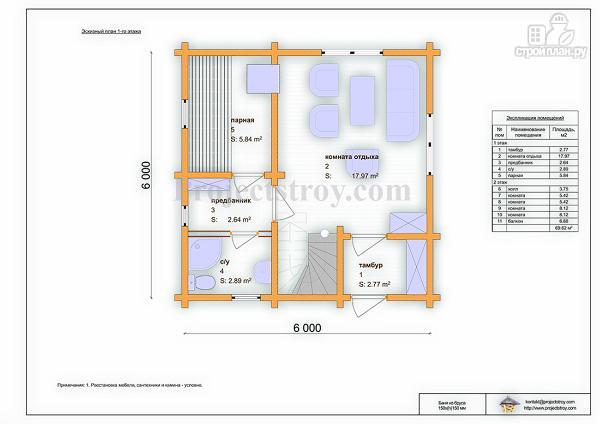Фото 3: проект дом-баня из бруса 150 мм, размер 6 на 6 м