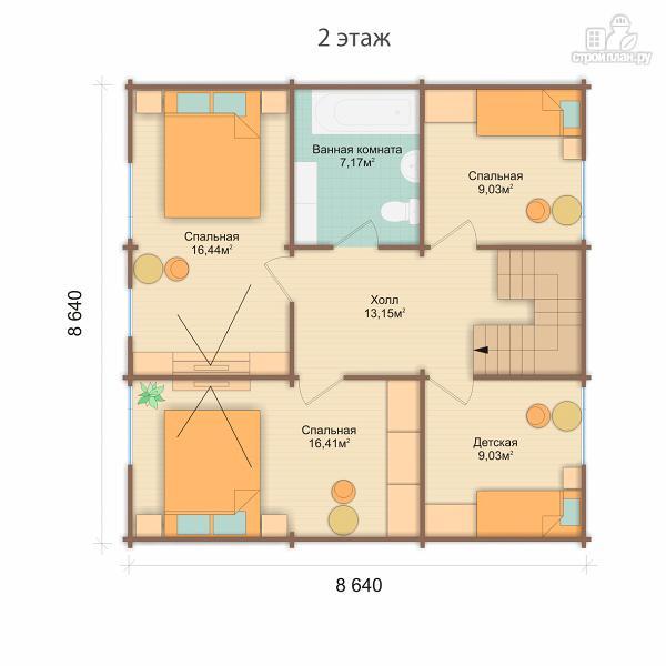 Фото 4: проект дом 9x9 метров с пятью спальнями