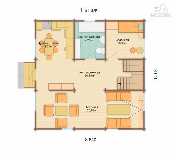 Фото 3: проект дом 9x9 метров с пятью спальнями