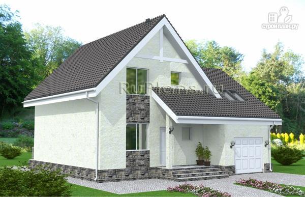 Фото: проект дом с мансардой, гаражом и лоджией