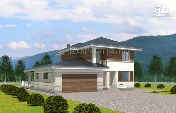 Фото 2: проект современный двухэтажный дом с гаражом