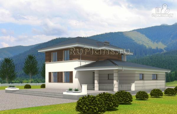 Фото 3: проект современный двухэтажный дом с гаражом