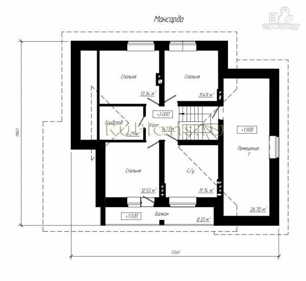 Фото 10: проект дом с мансардой, гаражом и большой террасой
