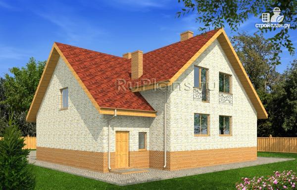 Фото 3: проект дом с мансардой, гаражом и большой террасой