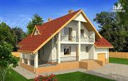 Проект дом с мансардой, гаражом и большой террасой