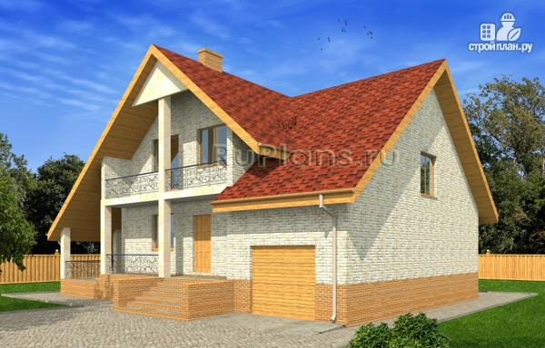 Фото 2: проект дом с мансардой, гаражом и большой террасой