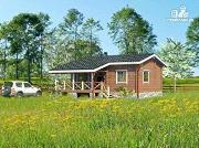 Фото: одноэтажный дом из клееного бруса, с просторным залом, спальней и небольшой террасой
