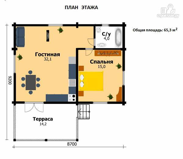 Фото 2: проект одноэтажный дом из клееного бруса, с просторным залом, спальней и небольшой террасой