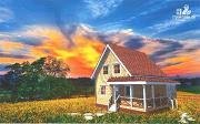 Фото: уютный дачный дом из клееного бруса с просторной зоной кухни-гостинной