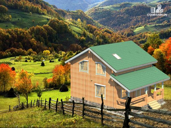 Фото: проект современный загородный дом из клееного бруса с сауной