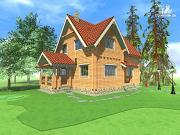 Проект изящный загородный коттедж в современном стиле, построенный из клееного бруса