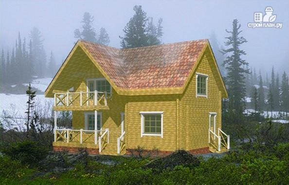 Фото: проект дачный дом с мансардой и балконом из клееного бруса