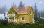 Фото: дачный дом с мансардой и балконом из клееного бруса