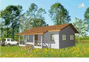 Фото: небольшой дачный дом, построенный по каркасной технологии